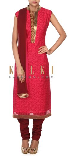 Buy this Pink straight suit highlighted in embellished placket only on Kalki