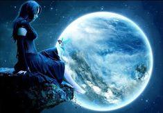 Baghiras kosmischer Wochenblick: Astrologische Prognose 01.06. - 07.06. - Vollmond und Mondfinsternis Dark Fantasy, Fantasy Art, Sun And Stars, Moon Magic, Beautiful Moon, Fantasy Landscape, Gothic Art, Magical Creatures, Wiccan