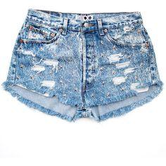 Acid Star Shorts Batoko ($90) ❤ liked on Polyvore featuring shorts, bottoms, pants, short, ripped shorts, distressed denim shorts, vintage denim shorts, blue star shorts and vintage jean shorts