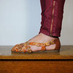 vintage shoes / leather huarache sandals (size 7.5). $25.00, via Etsy.