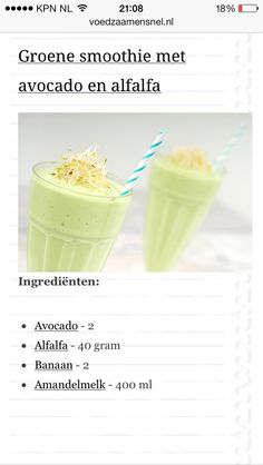 Groene smoothie avocado alfalfa