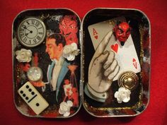 Devil magician assemblage by jenuineserendipity Project Ideas, Art Projects, The Devil Inside, Distressed Painting, Assemblage Art, Grey And Gold, Paper Roses, Alters, Crystal Ball