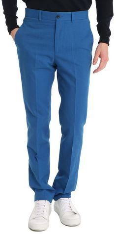 $117, Blue Chinos: Melindagloss Blue Chino Trousers. Sold by Menlook. Click for more info: https://lookastic.com/men/shop_items/312759/redirect