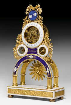c1785-90 SKELETON CLOCK WITH MOON PHASE AND CALENDAR, Louis XVI, the dial signed RIDEL A PARIS (probably Laurent Ridel, active from ca. 1770), Paris ca. 1785/90. Sold for CHF 41 000 (hammer price)