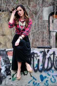 Checkered Blouse | Maxi with Flats |