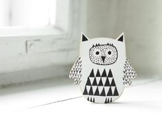 This little guy would be so cute on your NEW refrig...hand painted wooden magnet - black owl READY TO SHIP.  via Etsy.
