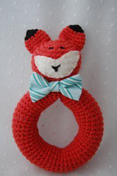 baby rattle crochet fox by emilylbaum on Etsy, $20.00