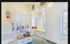 built-in bunk beds plus window seat Bunk Beds Built In, Chicago House, Window Bed, Bedroom Decor, Windows, Bath, Furniture, Kids Room, Bedrooms