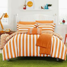 Chic Home Paris Comforter Set, Orange (240 CAD) ❤ liked on Polyvore featuring home, bed & bath, bedding, comforters, orange, striped comforter sets, extra long twin comforter, striped pillow cases, extra long twin comforter set and twin extra long fitted sheets