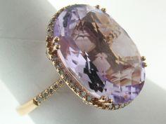 14K Rose Gold 10.69 Carat Pink Amethyst and Diamond Ring Sz 7