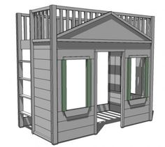 ana white A totally buildable playhouse loft bed that can be easily assembled in rooms. Features cottage styling, open ladder, full railings, three large windows and a doorway.