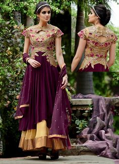 Gleaming Zari Work Wine Georgette Anarkali Salwar Suit  Email - support@ethnicoutfits.com Call - +918140714515 What's app / Viber - +918141377746
