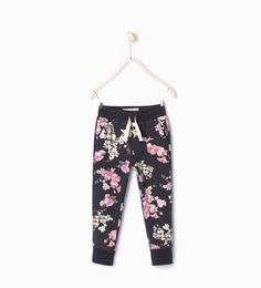 Image 1 of Floral plush trousers from Zara