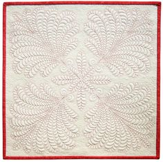 Red Wings whole cloth quilt by Sue Nickels, 2011.  Posted at Piece O' Cake