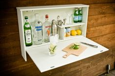 Wall hanging outdoor bar for patio entertaining