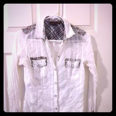 BUCKLE White sheer button down. Cuffs and collar accent colors and design. I used to wear it tied in the front. SUPER CUTE! Size Medium, fits small BKE Tops Button Down Shirts