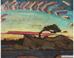 ^Arthur Lismer (1885-1969), Evening Silhouette, c. 1926, Oil on paperboard, 32.6 x 40.7 cm, Gift of the Founders, Robert and Signe McMichael, McMichael Canadian Art Collection