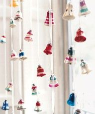 """Simple, Festive Holiday Décor Ideas  Make a """"curtain"""" of vintage ornaments: Cut a length of ribbon one foot longer than the length of the window; tie to a tension rod fitted in the frame. String on ornaments, knotting them in place about 5 inches apart. Repeat across the window, staggering the ornaments."""