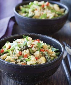 """Oh yum; I haven't seen a recipe like this before.  """"This spring vegetable fried rice recipehits the spot as a simple side dish or even a low-key meal."""" 