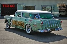 """The Speed Clover"""" Gasser Chevy Nomad, Traditional Hot Rod, Chevy Muscle Cars, 1955 Chevy, Us Cars, Station Wagon, Motor Car, Hot Rods, Classic Cars"""