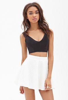Dot-Embossed Skater Skirt   FOREVER 21 - 2000119073 lOVE $18
