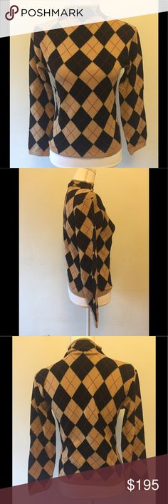 Burberry Sweater long sleeve mock turtleneck med Never worn. Like new condition. Black tan and red argyle. Size medium. Burberry Sweaters Cowl & Turtlenecks