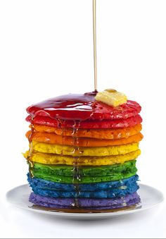 Go mad with food colouring this Pancake Day! These rainbow pancakes couldn't look more delicious. Mmmm