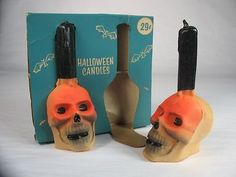 Mark Bergin Toys LTD VINTAGE HALLOWEEN PARTY DECORATION SKULL SKELETON CANDLES UNUSED WILL SHIP INTERNATIONALLY This auction is for a vintage unused in the original packaging skull candle set! The pa Halloween Candles, Halloween Party Decor, Vintage Halloween, Skull Candle, Vintage Candles, Vintage Fall, Halloween Season, Candle Set, Skeleton