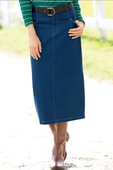 Denim L-Pocket Skirt  Who doesn't need another denim skirt? This classic style is available in sizes 4-18