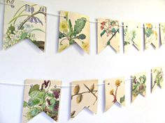 Spring and summer flowers garland  by ClaireWheatDesigns on Etsy