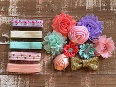 Spring Cutie diy headband kit shabby flower by CuteAsaBowSupplyCo