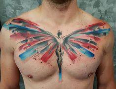 Angel Chest Tattoo