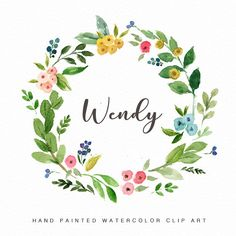 Watercolor floral wreath Clip art-Wendy/Individual PNG files/Hand Painted/Wedding design