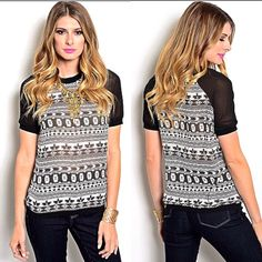 Black white tribal tee black mesh sleeve contrast Available in small, medium, and large. Semi-️sheer tribal / aztec / geometric black and white pattern tee with black mesh contrast sleeve. Sleeve has tighter solid hem or trim with elastic for perfect fit. Front and back are semi-sheer. Crew neck / crewneck line. Solid black trim on bottom hem. ‼️DON'T WORRY ABOUT PRICES! Everything in my closet is open to any fair offer‼️ @danystormborn Tops