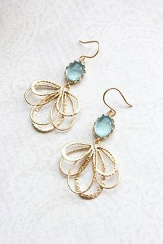 Aqua Glass and Gold Floral Earring ~ Modern Feather Dangle