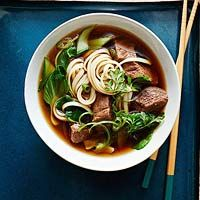 Asian Beef Noodle Soup Recipe *Skip the roast: 1/2 medium yellow onion, thinly sliced 1 piece ginger (2 inches), peeled and sliced 4 cloves garlic, sliced 2 tablespoons rice vinegar 2 tablespoons molasses (add a tablespoon of honey) 1/4 cup low-sodium soy sauce (used more) 7 cups beef stock 1 pkg (9.5 oz) udon noodles (used more) 6 cups chopped bok choy 1 cup sliced scallions, plus more for garnish