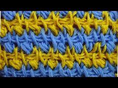 Начинаем вязать – Видео уроки вязания » Двухцветный узор из пышных столбиков – Тунисское вязание – Узор №50