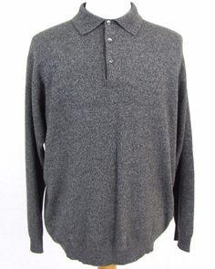 Gran Sasso Sweater XL VI 100% Pure Cashmere Polo Collar Gray Pullover Sweatshirt #GranSasso #Polo