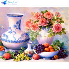 Zhui star DIY diamond embroidery flower&grape 5D diamond painting Cross Stitch full square Rhinestone mosaic home decoration  #Affiliate