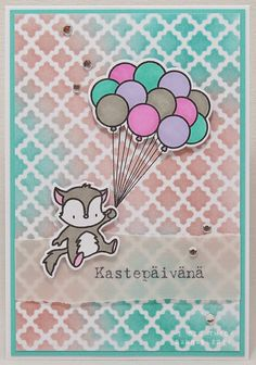 card with critters Mama Elephant: Up & Away balloon #balloon balloons fox stencil background