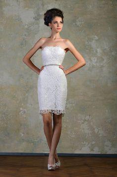 Vintage-Lace-Strapless-Short-Fitted-Wedding-Dresses-Knee-Length-Beaded-Belt-Sheath-White-Little-Dresses-Short.jpg (700×1058)