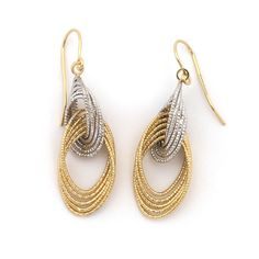 "14k White and Yellow Gold Two-Tone Diamond Cut Interlocking Freeform Dangle 1.4"" Earrings"