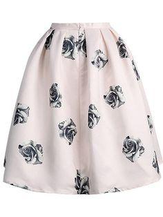 Shop Jupe Patineuse Soyeuse Imprimée RoseNoir -Rose Pâle from choies.com .Free shipping Worldwide.$22.99