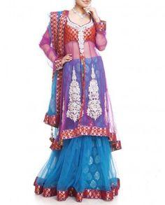 #Exclusivelyin, #IndianEthnicWear, #IndianWear, #Fashion, Tango Red & Blue Lehenga Set