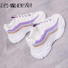 Women Casual Shoes 2018 Autumn Mesh Women Shoes Flats Platform Lace-Up Fashion Breathable Women Sneakers Woman zapatos de mujer Moda Sneakers, Cute Sneakers, Casual Sneakers, Sneakers Fashion, Casual Shoes, Shoes Sneakers, Chunky Sneakers, Warm Boots, Lace Up Flats