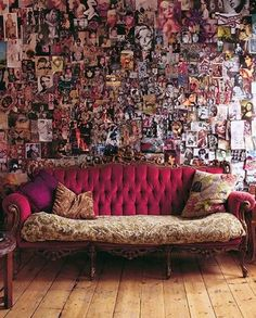 This is a slightly classier version of the floor to ceiling wall collage I glued to my bedroom walls when I was 18 - that is a soft confession only