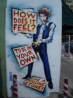 Bob Dylan street art in Austin, Texas. Mural on the side of Hole in the Wall. Banksy, Bob Dylan Art, Billy The Kid, Folk, Like A Rolling Stone, Rolling Stones, New Wave, Marvel, Street Art Graffiti