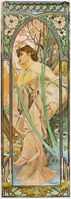"""Alfons Mucha. """"Rêverie du soir"""", de la serie """"Les Heures du jour"""", 1899."""