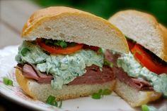 roast beef  ranch spinach dip sandwich
