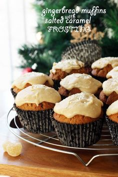 These gingerbread muffins with salted caramel frosting are Christmas treat perfection!